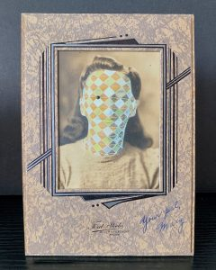 Tom Butler | Mary | 2020 | Gouache on freestanding vintage yearbook photograph | 16.5×11.5×7.6cm