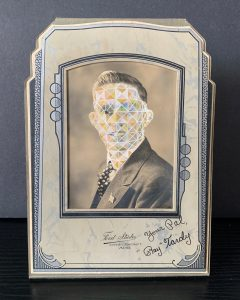 Tom Butler | Ray | 2020 | Gouache on freestanding vintage yearbook photograph | 16.5×11.5×7.6cm