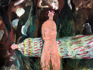 Melissa Kime | Sacrificed May Queen | 2020 | Acrylic, watercolour, oil pastel, coloured pencil on paper | 24x30cm