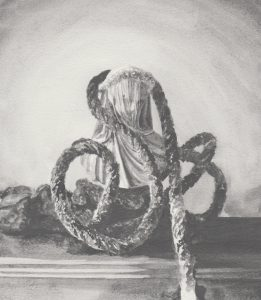 Richard Moon | Study with Bust & Rope No.6 | 2020 | Water soluble graphite on paper | 24x21cm