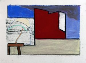 Peter Ashton Jones | The Sheltering Sky | 2020 | Indian ink, pastel, charcoal on paper | 28x38cm