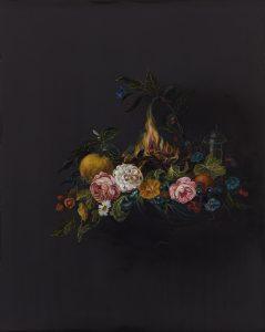 Emma Bennett | Cluster | 2020 | Oil on oak panel | 25x20cm