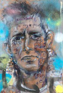 Sam Jackson | My Human Gets Me Blues | 2021 | Oil, ink, marker, pencil on board | 32×22.5cm