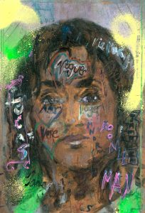 Sam Jackson | The Magnificent | 2021 | Oil, spray paint, ink, pencil on board | 32×22.5cm