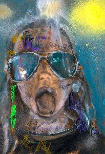 Sam Jackson | Voodoo Chile | 2021 | Oil, spray paint, ink, pencil on board | 32×22.5cm