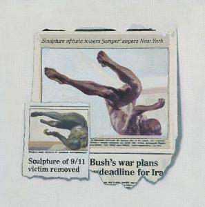 Hugh Mendes | Bush's War Plans (Jumper) | 2002 | Oil on linen | 30x30cm