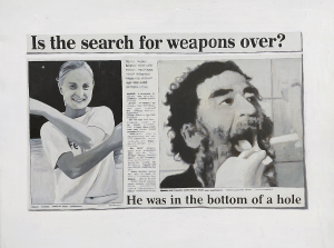 Hugh Mendes | Is the search for weapons over | 2004 | Oil on linen | 35x45cm