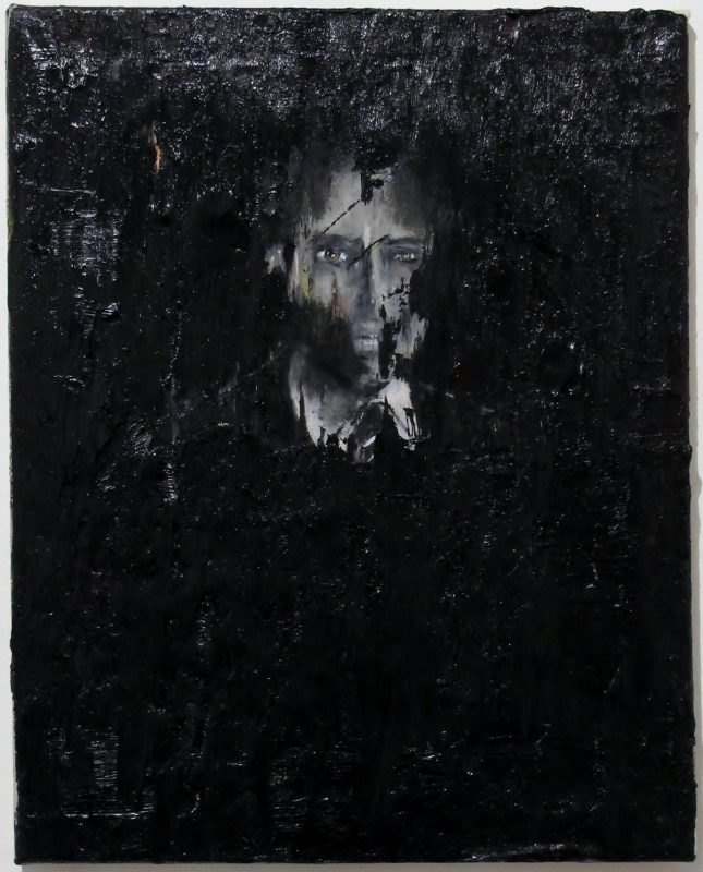 Luke Jackson | A Man Travelling a Few Seconds into the Past in a Single Self Consistent Timeline | 2012 | Oil & mixed media on canvas | 52x41cm