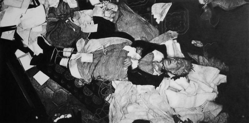 Eric Manigaud | Crime Scene (31 Mai 1906) | 2007 | Pencil & graphite powder on paper | 137x179cm