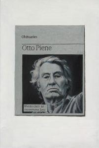 Hugh Mendes | Obituary: Otto Piene | 2015 | Oil on linen | 30x20cm