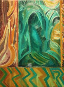 Kiera Bennett | Bed, Window (Zig Zag) | 2011 | Oil on linen | 55x40cm