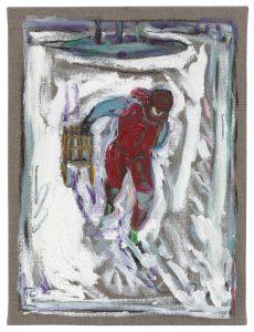 Billy Childish   Boy Pulling Sledge (Study)   2010   Oil & charcoal on linen   41×31.5cm
