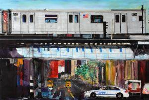 James Jessop   Subway Train 2011 passing over St Ann St, South Bronx   2011   Oil, acrylic & Uni Posca marker on canvas   170x250cm