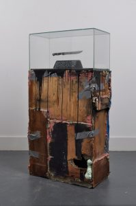 David Lane | He had his whole life ahead of him | 2012 | Refuse wood, glass, expanding foam, grip fill, pink grip, tarpaulin, blackboard paint, carving knive