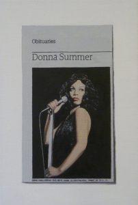 Hugh Mendes | Obituary: Donna Summer | 2012 | Oil on linen | 30x20cm