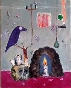Manuel Ocampo   Purple Bird, Cave, Skull   2005   Oil on canvas   76x61cm