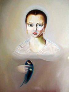 Claire Pestaille   Bronzino's Bluebird   2007   Oil on linen   50x40cm