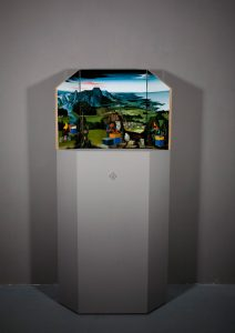 John Stark | For the Greater Good | 2011 | Oil on wood panel (hinged triptych with hexagonal plinth) | 120x82x30cm