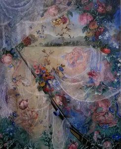 Dolly Thompsett   The Secret Life of Mrs Andrews   2014   Acrylic ink mixed media on patterned upholstery linen   90x67cm