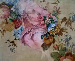 Dolly Thompsett   Europa   2014   Acrylic ink mixed media on patterned upholstery linen   33x41cm