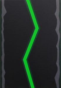 Alex Gene Morrison | Green Lightning (Grey-Edge) | 2014 | Acrylic & oil on canvas | 66x46cm