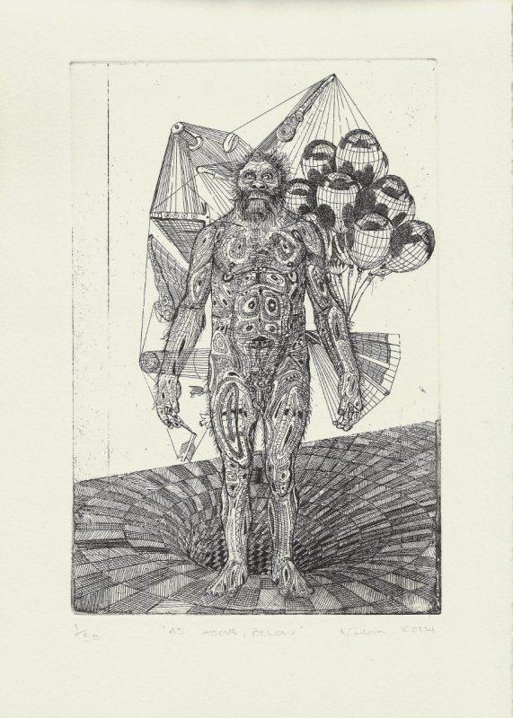 Gavin Nolan   As Below, Above   2014   Hard ground etching on 300gsm Somerset soft white velvet paper (Ed. 50)   29.7x21cm