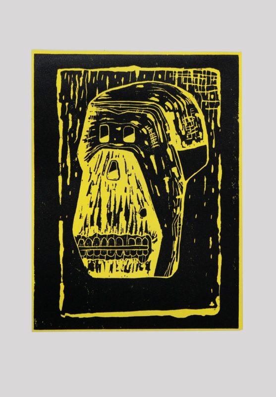 Alex Gene Morrison   Skull   2014   Linocut on hand painted paper (Ed. 50)   29.7x21cm