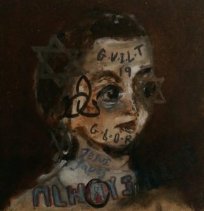 Sam Jackson | Guilt and Glory (Always Here) | 2014 | Oil on board | 12x12cm