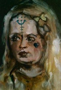 Sam Jackson | My Eyes Are Fallen | 2014 | Oil on board | 15x10cm
