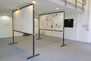 Hilde Huse Krohn | Standing Narratives | 2014 | Steel, perspex, photographs & text | Dimensions variable
