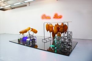 Zhu Tian | Dear Boss | 2014 | Sheep skin, neon sign, metal motor, LED strip, rubber, rope, cable tie, leather, perspex, sheet, wood | Dimensions variable