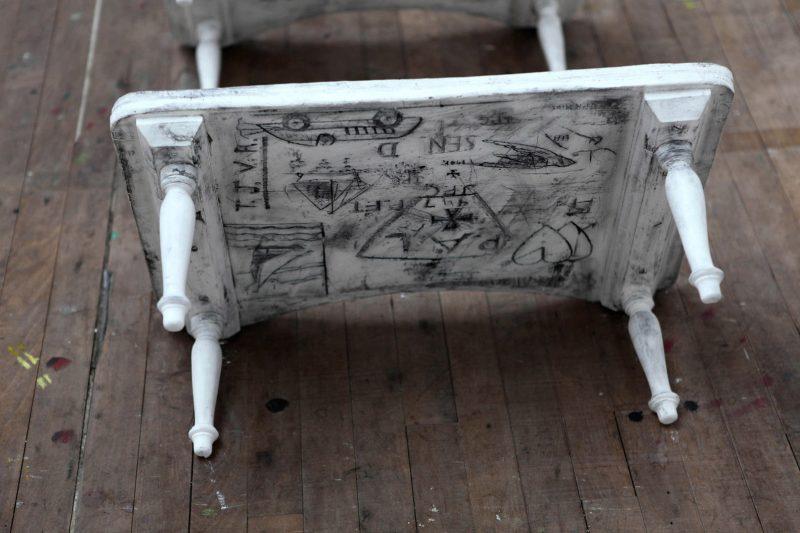 Beatrice Haines | Sanatorium | 2010 | Plaster casts of school sanatorium over-bed tables | 50x40x30cm (x6) | Detail