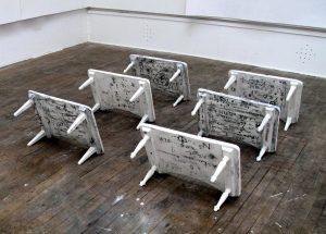 Beatrice Haines | Sanatorium | 2010 | Plaster casts of school sanatorium over-bed tables | 50x40x30cm