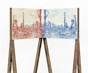 Gary Colclough | Aftermath | 2012 | Coloured pencil, paper, wood | 148x50x33cm | Detail