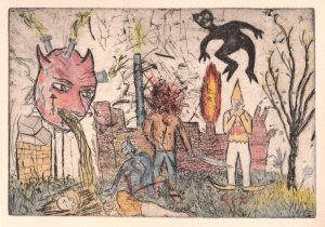 Oliver McConnie | Factory Town | 2014 | Etching on somerset newsprint (AP) | 21x30cm