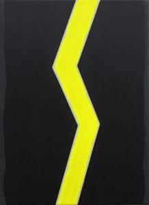 Alex Gene Morrison   Shockwave Fluro Yellow   2014   Acrylic on canvas   55x40cm