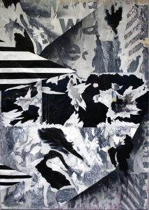 Hendrik Zimmer   I cannot fall; I cannot fall in love; I try and I try and I try; I cannot fall in love with you   2015   Mixed media on canvas   118x54cm
