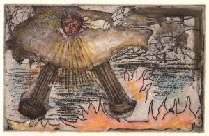 Oliver McConnie | St John's Vision | 2014 | Hand coloured etching (ed. 30) | 9×14.5cm