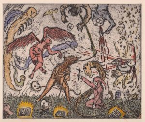 Oliver McConnie | Tribulations | 2014 | Hand coloured etching (ed. 30) | 18×21.5cm