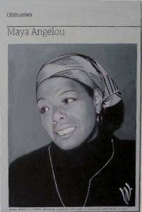 Hugh Mendes   Obituary_Maya Angelou   2014   Oil on linen   35x25cm