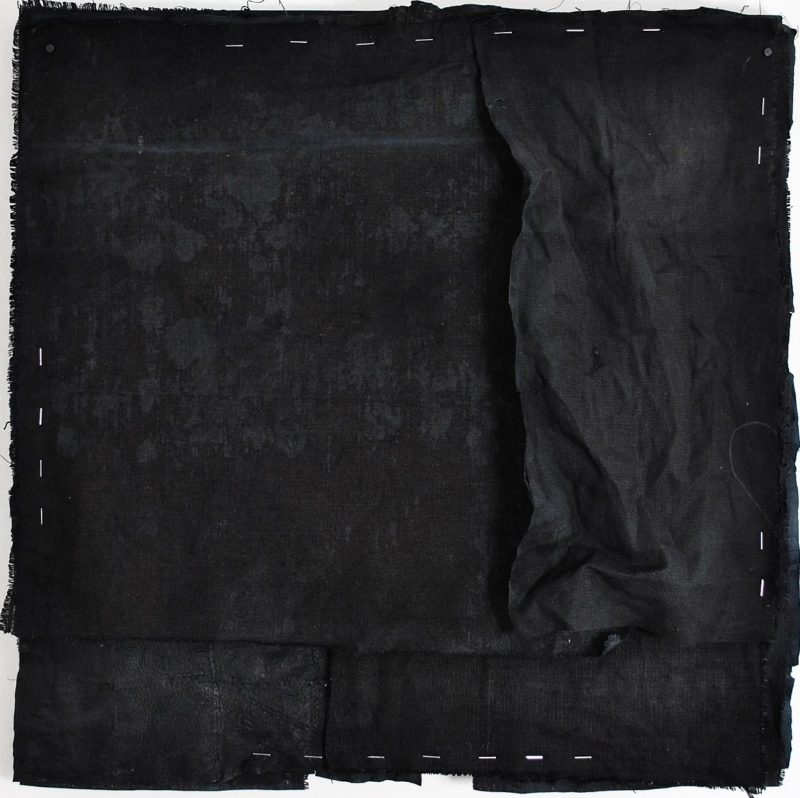 Tess Williams | Onyx II | 2015 | Ink, acrylic, chalk on linen & leather | 56x56cm