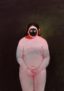 Lisa Wright | Biting on a Button | 2015 | Oil on canvas | 70x50cm