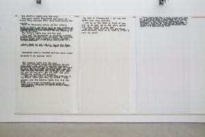 J Price   Sheets and Pages   2015   Hand carved letters printed onto curtain liner   241x140cm