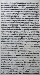 J Price   2013-14   adeclarationandamanifesto/butyoujustsawsex   Hand carved letters printed onto cotton & fabric   240x128cm
