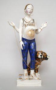 Claire Partington | Venus | 2015 | Earthenware, glaze, enamel lustre, jewellery | 71.5x39x20cm