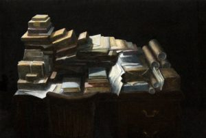 Mathew Gibson | Desk 2 | 2015 | Oil on panel | 18x26cm