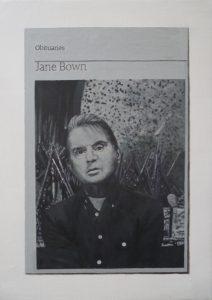 Hugh Mendes | Obituary Jane Bown (Bacon) | 2015 | Oil on linen | 35x25cm