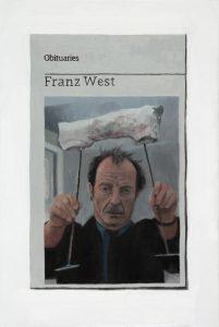 Hugh Mendes | Obituary: Franz West | 2015 | Oil on linen | 30x20cm