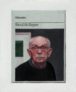 Hugh Mendes   Obituary Raoul De Keyser   2015   Oil on linen   30x25cm