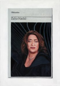 Hugh Mendes   Obituary Zaha Hadid   2016   Oil on linen   35x25cm